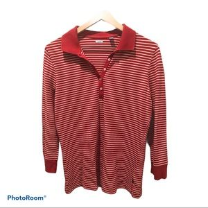 Vintage Lacoste Red Henley Striped Long Sleeve